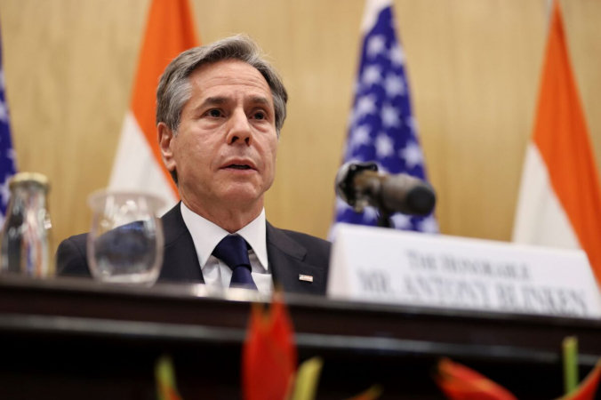 Госсекретарь США Энтони Блинкен выступает на совместной пресс-конференции с министром иностранных дел Индии Субраманьямом Джайшанкаром в JNB в Нью-Дели, Индия, 28 июля 2021 г. (Jonathan Ernst/Pool Photo via AP) | Epoch Times Россия