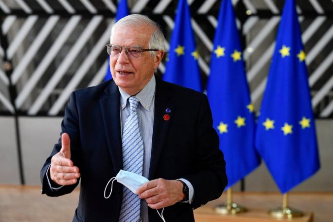 Глава Европейского союза повнешней политике Хосеп Боррелл делает заявление вздании Европейского совета вБрюсселе 6мая 2021 года. (John Thys/Pool via AP) | Epoch Times Россия