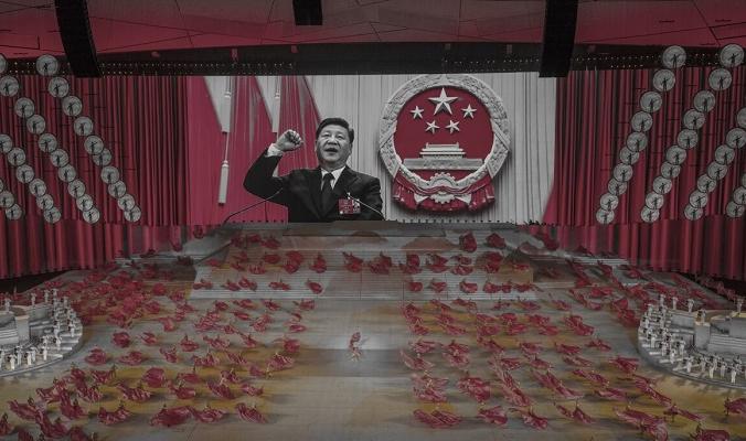Китайский лидер Си Цзиньпин появляется на большом экране во время танца артистов на гала-концерте, посвящённом 100-летию Коммунистической партии, на олимпийском стадионе «Птичье гнездо» в Пекине, Китай, 28 июня 2021 года. (Kevin Frayer/Getty Images) | Epoch Times Россия