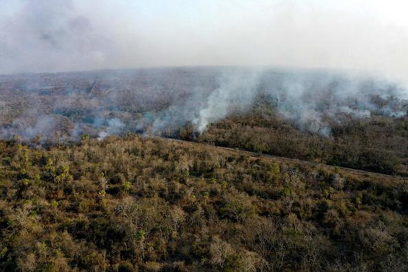 Лесной пожар возле Сан Матьяс, департамент Санта Круз в Боливии, 20 августа 2021 года. Вид из вертолёта. (Photo de William WROBLEWSKI / AFP via Getty Images)