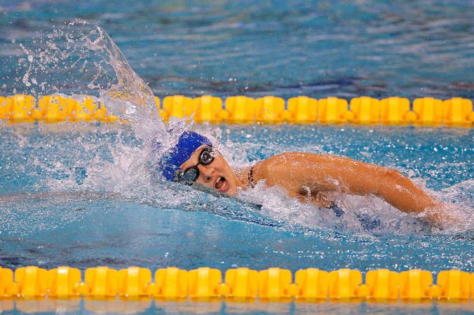 Валерия Шабалина плывёт дистанцию 200 метров вольным стилем во время пятого дня чемпионата Европы по плаванию IPC, проходившего на плавательном стадионе имени Питера ван ден Хугенбанда 8 августа 2014 года в Эйндховене, Нидерланды. Dean Mouhtaropoulos/Getty Images   Epoch Times Россия