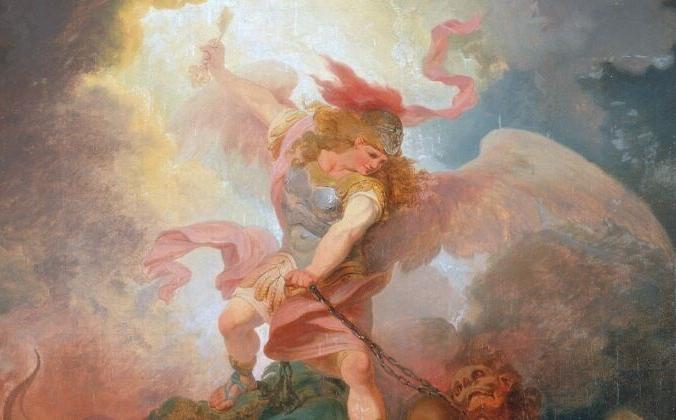 «Ангел, связывающий сатану», около 1797 года, Филипп Джеймс из Лутербурга. Масло, холст, 45 см на 37,5 см. Йельский центр британского искусства, Коннектикут. (Всеобщее достояние) | Epoch Times Россия