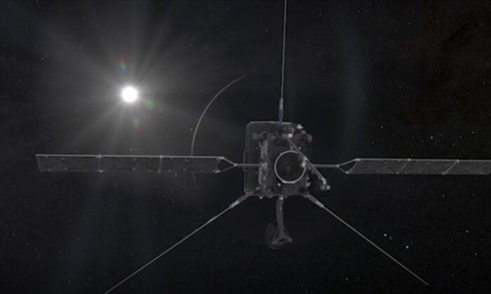Венера приближается слева. Часть планеты, скрытой от Солнца, выглядит как тёмный полукруг, окружённый ярким серпом света, 9 августа 2021 г. (Европейское космическое агентство / ATA MEDILAB через AP / Скриншот через NTD   Epoch Times Россия