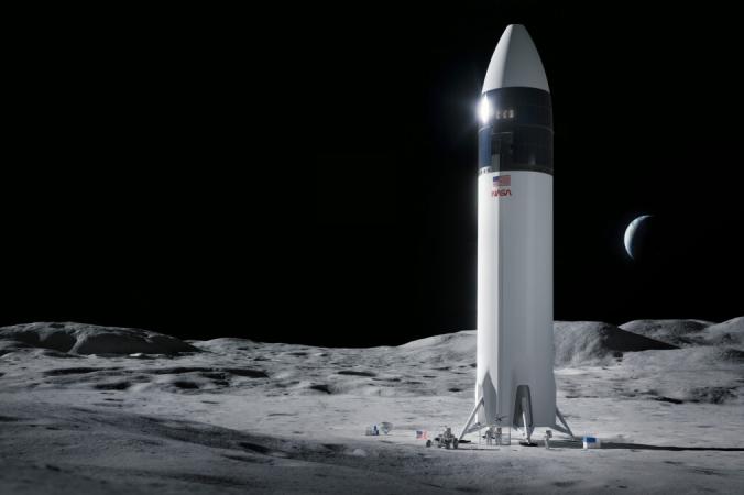 На этой иллюстрации, предоставленной SpaceX, показан дизайн посадочного модуля космического корабля SpaceX Starship, который доставит первых астронавтов НАСА на поверхность Луны в рамках программы Artemis. (SpaceX/NASA via AP)   Epoch Times Россия