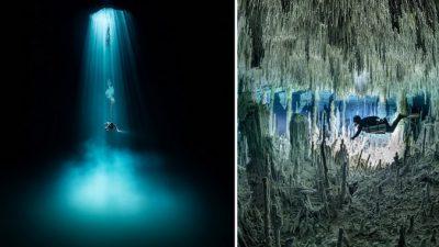 Ныряльщик исследует подводные пещеры в Мексике