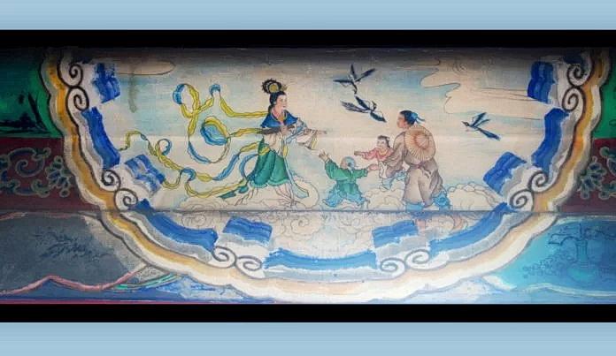 Воссоединение пары «Ткачиха и Пастух» на мосту из птиц сорок. Произведение искусства в длинном коридоре Летнего дворца в Пекине. (Изображение: <a target=