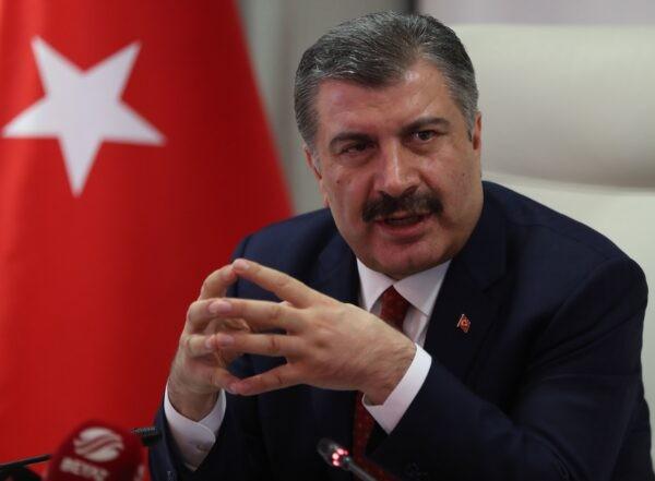Министр здравоохранения Турции Фахреттин Коджа проводит пресс-конференцию в Анкаре, Турция, 16 марта 2020 г. Adem Altan/AFP via Getty Images