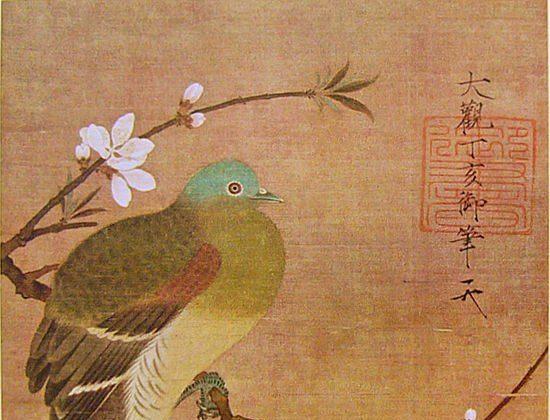 «Голубь на ветке персика», династия Северная Сун, работы императора Хуэйцзун (1082–1135). Тушь и цвет на шелковом свитке, 28,5 на 26 см. (Общественное достояние / частная коллекция в Японии)  | Epoch Times Россия