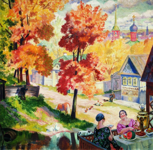 Осень, купчихи и патриархальная Русь Кустодиева
