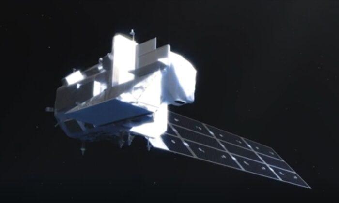 Landsat 9 изображён в графической анимации. NASA-USGS via AP/ Screenshot via NTD   Epoch Times Россия
