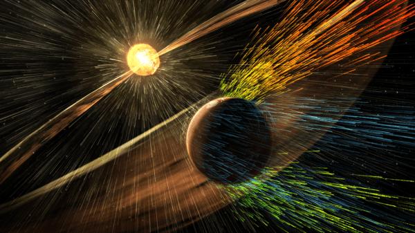 Художественный рендеринг солнечной бури, поражающей Марс и вырывающей ионы из верхних слоёв атмосферы планеты. NASA