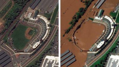 Спутниковые снимки до и после урагана «Ида» в штате Нью-Джерси