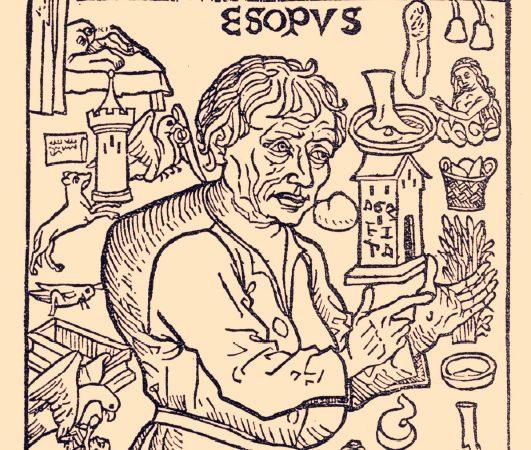 Фрагмент факсимиле испанского издания «Басни Эзопа» («Fabulas de Esopo») 1489 года, опубликованного в Мадриде в 1929 году. На фронтисписе гравюры на дереве Эзоп изображен в окружении образов и событий из «Жизни Эзопа» Планудеса.(PD)    Epoch Times Россия