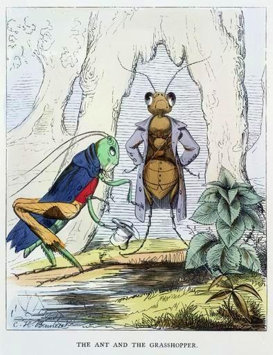 Иллюстрация 1857 года кбасне Эзопа «Муравей иКузнечик». (Всеобщее достояние)