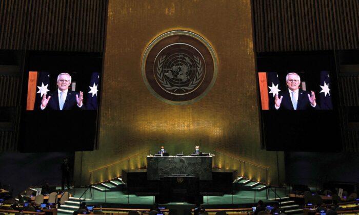 Премьер-министр Австралийского Союза Скотт Моррисон на 76-й сессии Генеральной Ассамблеи в штаб-квартире ООН в Нью-Йорке, 24 сентября 2021 года. (Peter Foley/Pool/AFP via Getty Images) | Epoch Times Россия