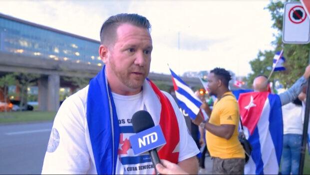 Эухенио Ландиро Рейес, активист по правам человека на Кубе, управляемой коммунистами, беседует с репортёром в Монреале 11 сентября 2021 г. (NTD Television)