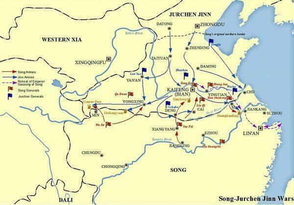 """Карта, показывающая Сунско-цзиньские войны с маршрутами северных экспедиций Юэ Фэя. Изображение: <a target=""""_blank"""" href=""""https://en.wikipedia.org/wiki/Yue_Fei#/media/File:Song_Jin_Wars.jpg"""" rel=""""noopener""""> Seasonsinthesun</a>/<a target=""""_blank"""" href=""""https://creativecommons.org/licenses/by-sa/4.0/"""" rel=""""noopener""""> Wikimedia CC BY-SA 4.0</a>)"""