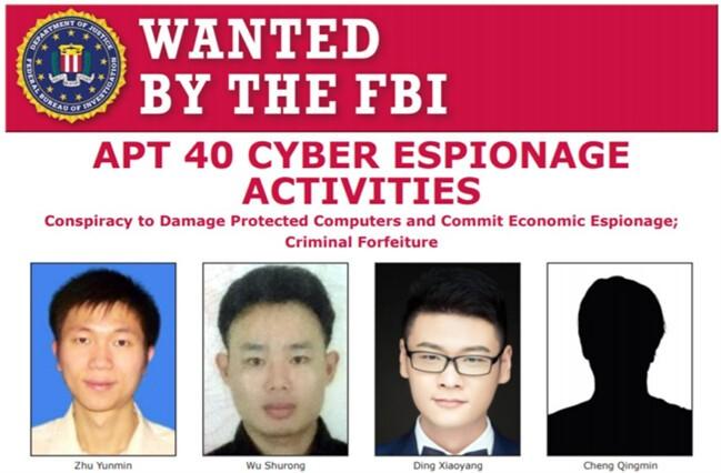 Скриншот плаката ФБР с разыскиваемыми китайскими членами хакерской группы APT 40. FBI/Screenshot via The Epoch Times
