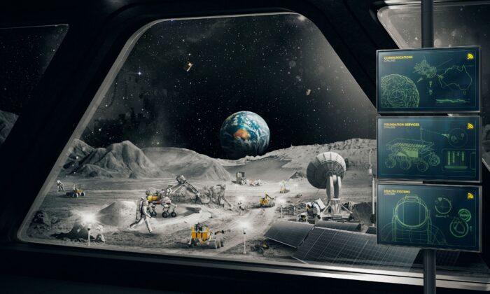 На этом недатированном изображении изображена воображаемая сцена на Луне. Australian Space Agency via AP | Epoch Times Россия