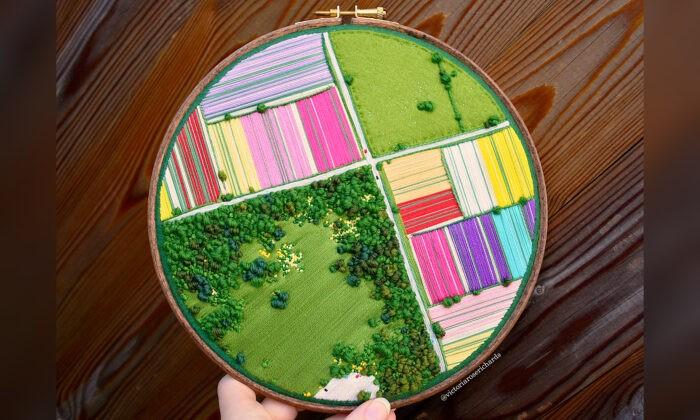 Художница создаёт трёхмерную вышивку, которая похожа на «снимки» Великобритании с воздуха