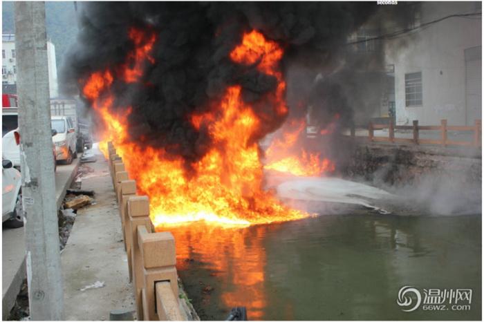 В Китае из-за отбросов предприятий загорелась река