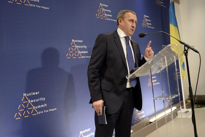 Исполняющий обязанности министра иностранных дел Андрей Дещица во время пресс-конференции на саммите по ядерной безопасности, 24 марта, 2014 год, Гаага, Нидерланды. Фото: Marco De Swart - Pool/Getty Images