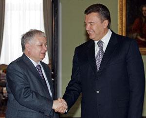 Премьер-министр Украины Виктор Янукович и Президент Польши Лех Качиньский. Фото: JANEK SKARZYNSKI/AFP/Getty Images