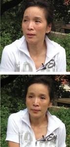Жестоко пострадавшая Сюй Миньфэнь пришла в расстройство, когда тема интервью коснулась положения брата и его жены. Фото: Великая Эпоха