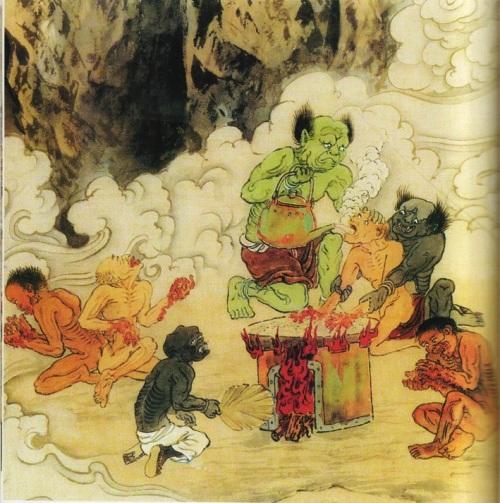 Четвёртый уровень ада, им управляет У Куан Ван. Это место где грешникам в рот заливают кипяток, а руки обжигают в раскалённом на огне песке. Те, кто при жизни любил лакомиться дарами моря, кто часто живьём варил раков, креветок и прочих, после смерти попадают в эту часть ада и в жестоких муках искупают свои грехи. Фото предоставлено Цзняном Ицзы