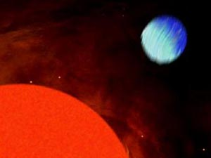 Звезда HD189733 и планета HD189733b. Рисунок ETH Zurich