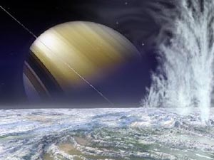 Ледяные гейзеры на Энцеладе. Рисунок Майкла Кэрролла. Spacedinoart.com