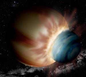 Столкновение двух молодых планет в системе 2M1207, породившее планету 2M1207b. Иллюстрация David A. Aguilar/Harvard-Smithsonian CfA