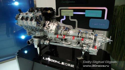 Стенд компании Lexus (премиум-бренд Toyota). Электромеханическая трансмиссия Hybrid Synergy Drive - шедевр инженерной мысли. 1 - Генератор, 2 - Планетарный редуктор, 3 - Электрический двигатель, 4 - Двухступенчатый планетарный редуктор, 5 - Раздаточная коробка с дифференциалом повышенного трения Torsen. Фото: 3dnews.ru