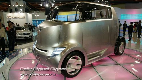Стенд компании Toyota. Hi-CT - с рулем в виде джойстика, спортивными креслами и массой интегрированных цифровых устройств. Фото: 3dnews.ru