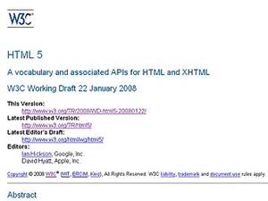Фрагмент описания HTML5 на сайте консорциума W3C