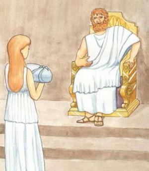Рея  приносит своего сына Зевса к отцу Кроносу. Олимпийские игры - знаменитое и желанное событие современности. Они служат символом мирового единства, мира, спортивного мастерства и острых ощущений спортивных соревнований.