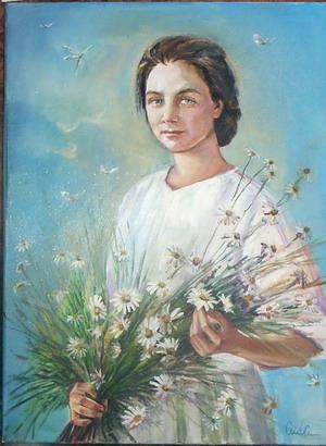 Девушка с букетом ромашек. Автор Аида Лисенкова-Ханемаер
