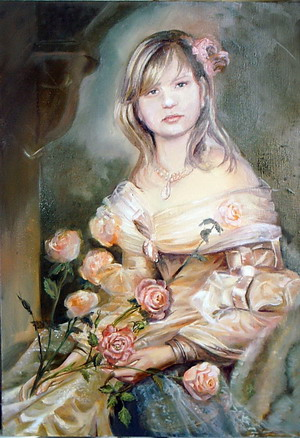 Девушка с розами. Автор Аида Лисенкова-Ханемаер