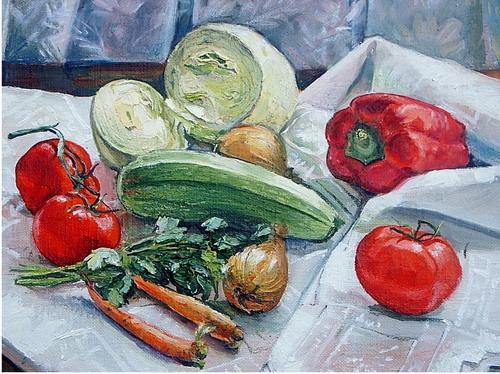 Овощной натюрморт. Автор Аида Лисенкова-Ханемаер