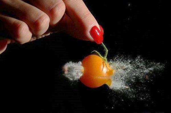 Маленький помидор, через которых проходит пуля. Фото с epochtimes.com
