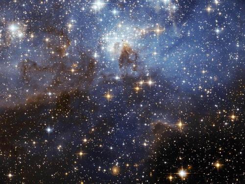 Самые яркие из Звезд. Водовороты газа и пыли проживают в этой эфирной области формирования звезды, замеченного Космическим телескопом НАСА. Это величественное зрелище, расположенное в Большом Магеллановом Облаке (LMC), показывает область, где младенческие звезды и их намного более старшие звездные соседи. Саван синего тумана мягко задерживается среди звезд. Фото: С сайта nasa.gov