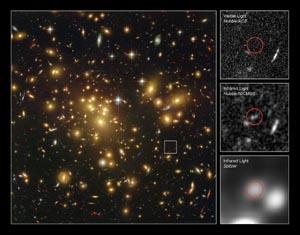 Обнаружена самая дальняя галактика. Фото: L. Bradley (JHU), R. Bouwens (UCSC), H. Ford (JHU)and G. Illingworth (UCSC)/NASA/ESA