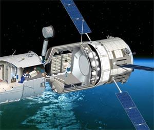Так обитатели МКС будут переносить на борт станции грузы, доставленные европейским кораблем. Иллюстрация ESA/D.Ducros