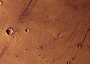 Марс подвергся сильному воздействию вулканов. Фото: FU Berlin (G. Neukum)/ DLR/ ESA
