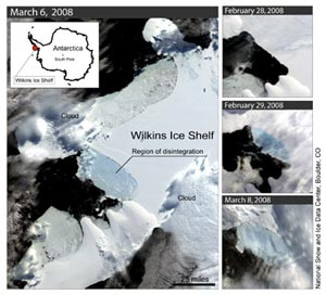 Антарктический ледник начал разрушаться. Фото: National Snow and Ice Data Center/NASA