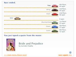 Скриншот из игры TypeRacer