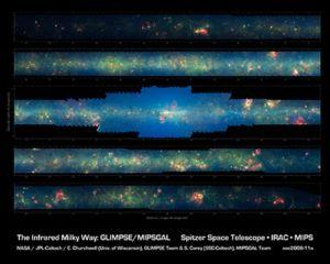Мозаика, составленная из снимков нашей Галактики, сделанных Spitzer. Фото: NASA/JPL-Caltech/Univ. of Wisconsin
