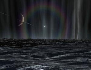 Этот рисунок показывает далекое Солнце и гало, созданное мельчайшими кристалликами льда, составляющими (в основном) струи фонтанов Энцелада. Иллюстрация: Karl Kofoed