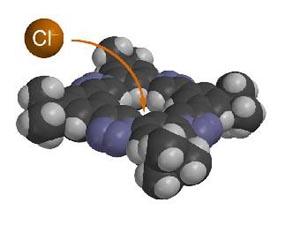 Центр новой молекулы притягивает отрицательно заряженные ионы. Изображение университета Индианы