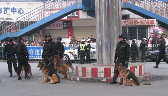 Для подавления акции протеста, местные власти направили отряд полицейских. Фото: NTD